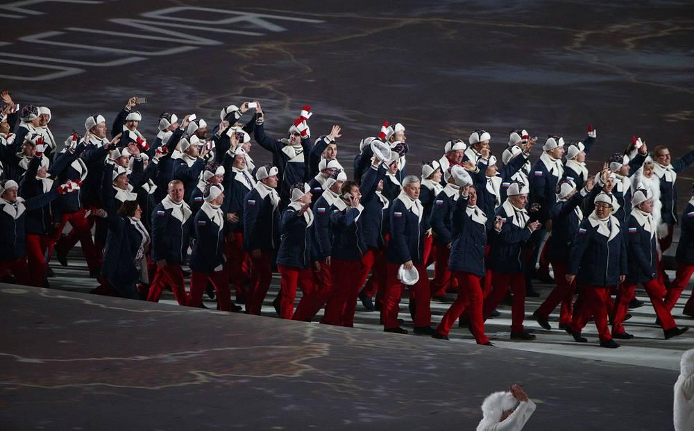 Сборная России на церемонии Олимпиады в Сочи