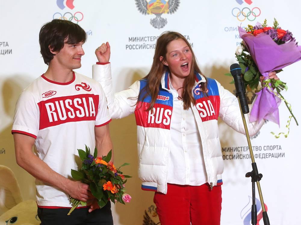 Двукратный олимпийский чемпион в сноуборде Вик Уайлд и его жена, бронзовый призер в сноуборде Алена Заварзина