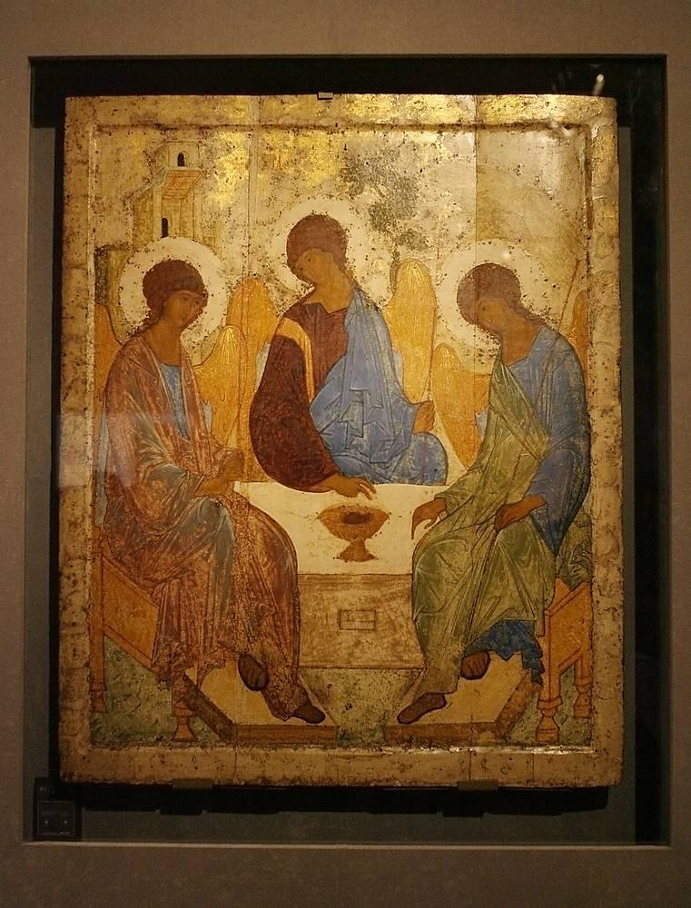Работа Андрея Рублева «Троица» (XV век)