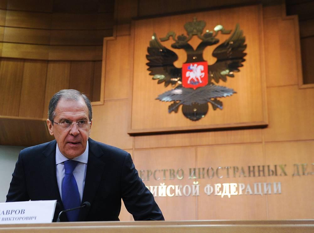 Министр иностранных дел РФ Сергей Лавров во время пресс-конференции по итогам деятельности российской дипломатии в 2012 году