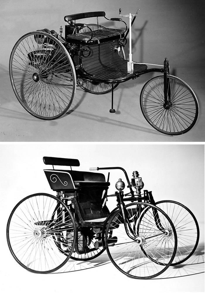 Первый автомобиль Майбаха (внизу) и автомобиль Даймлера и Бенца