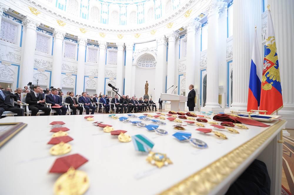 Церемония вручения государственных наград в Кремле