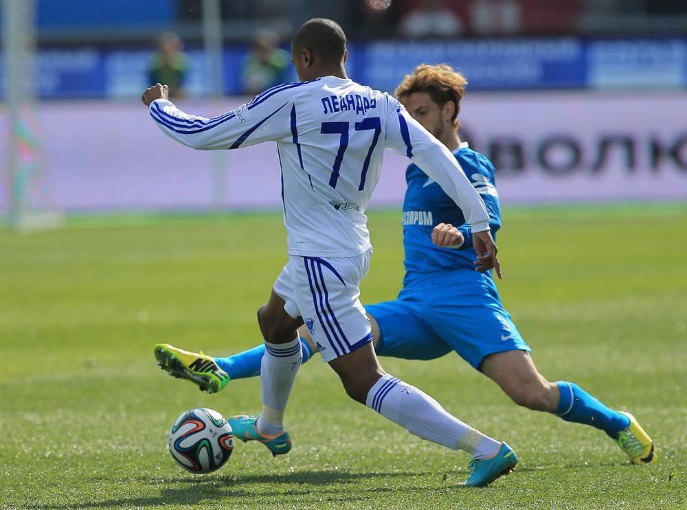 """Игроки """"Волги"""" Леандро и """"Зенита"""" Кристиан Ансальди (слева направо)"""