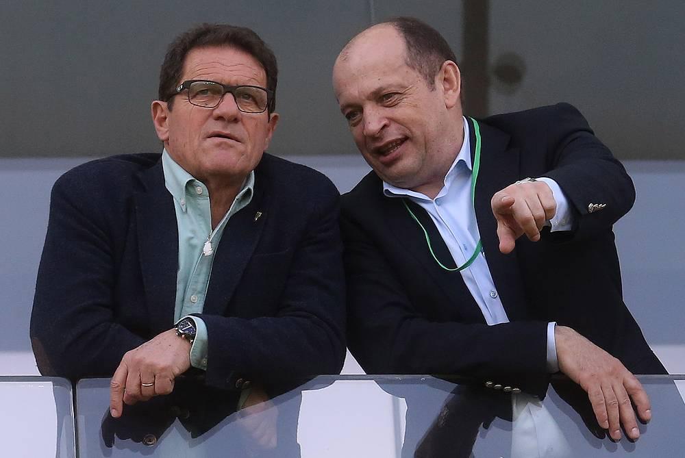 Главный тренер сборной России Фабио Капелло и президент РФПЛ Сергей Прядкин (слева направо)