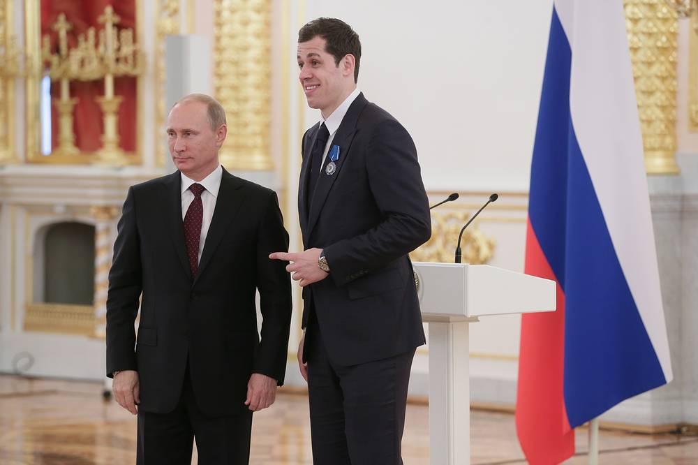 Владимир Путин и Евгений Малкин