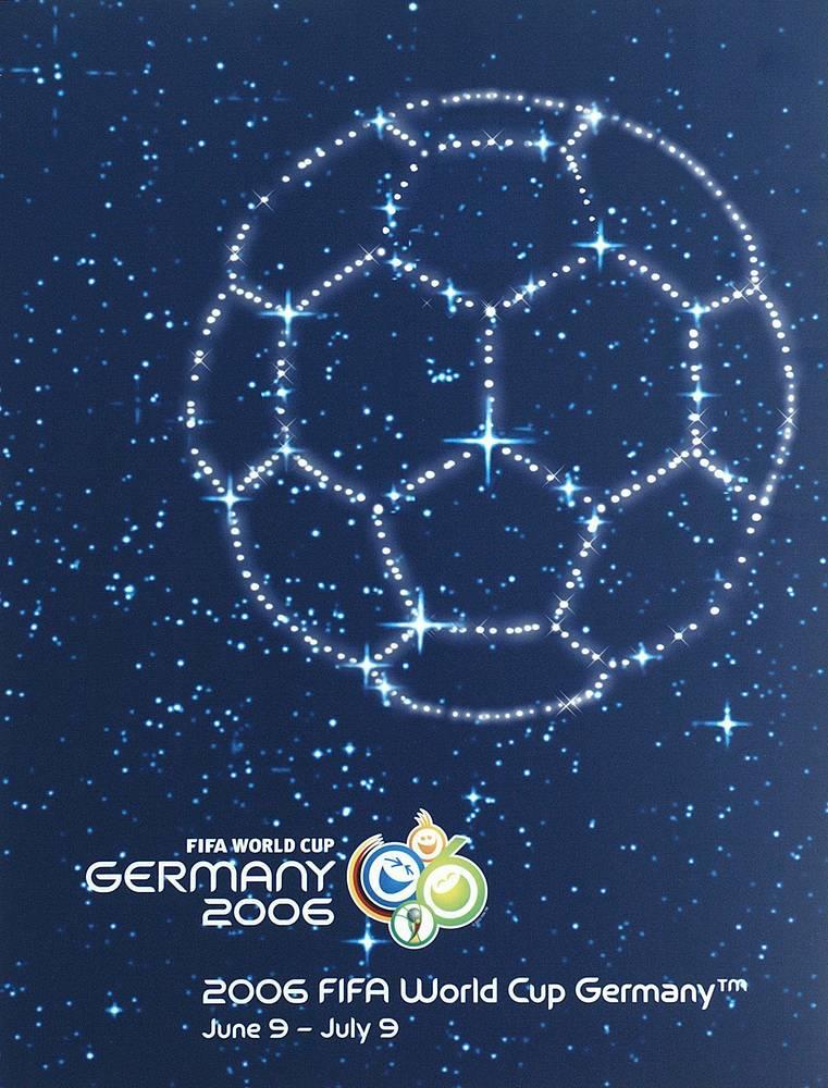 Плакат ЧМ-2006 в Германии. Сборная Италии победила команду Франции, завоевав четвертый титул - 1:1, 5:3 - по пенальти