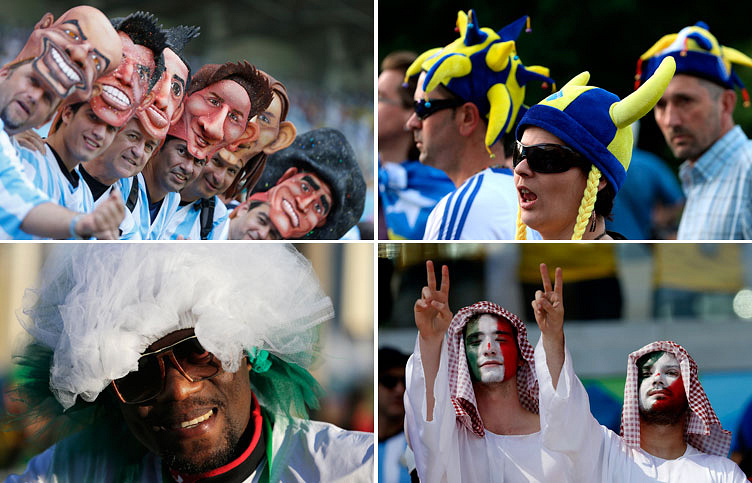 Болельщики из Аргентины, Боснии и Герцеговины, Нигерии и Ирана