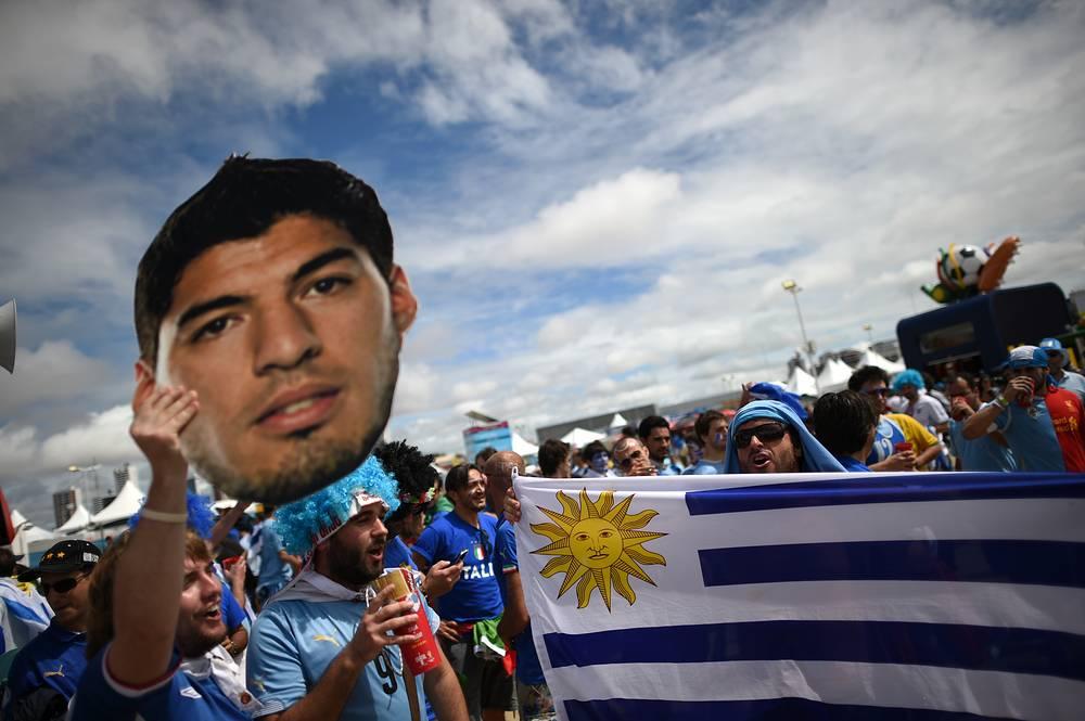 Болельщики сборной Уругвая надеялись на своего лидера Луиса Суареса
