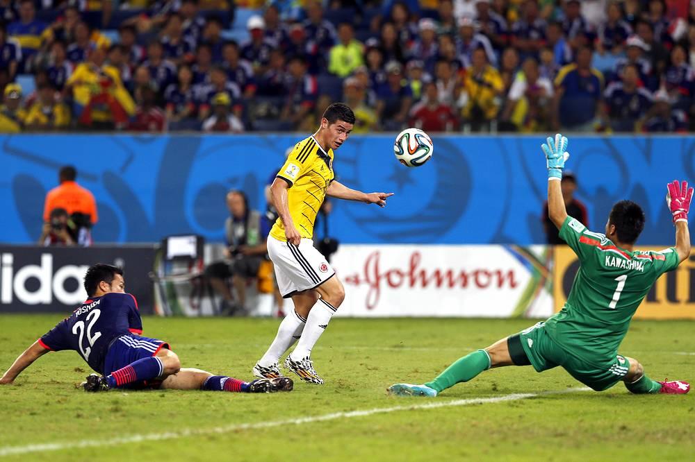 Поразив ворота японцев, Хамес Родригес вновь вышел в лучшие бомбардиры команды на турнире