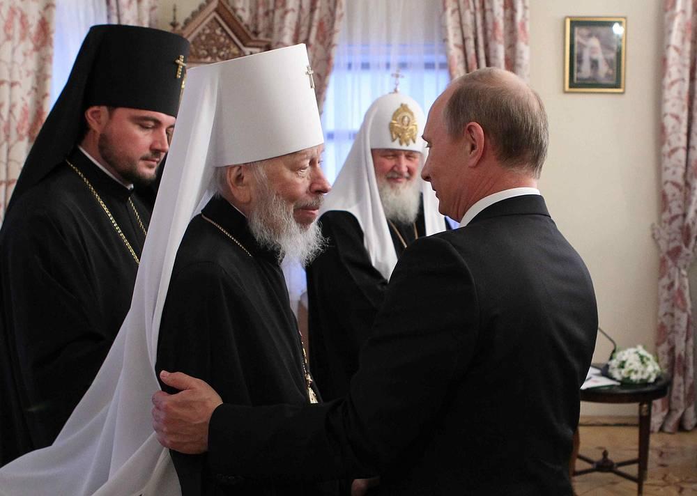 Митрополит Киевский и всея Украины Владимир, патриарх Московский и всея Руси Кирилл, президент России Владимир Путин