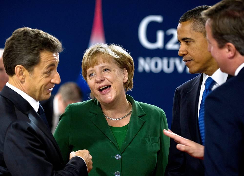 Президент Франции Николя Саркози, Ангела Меркель, президент США Барак Обама и премьер-министр Великобритании Дэвид Кэмерон на саммите G20 в Каннах. Франция, 2011 год