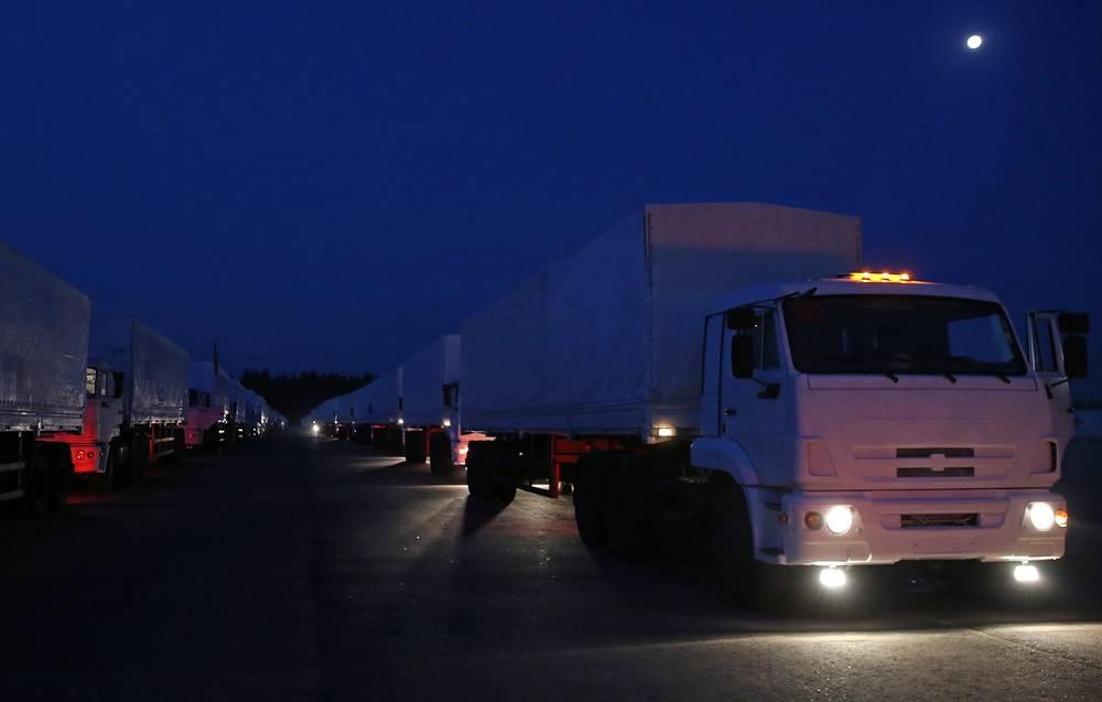 Автоколонна для доставки гуманитарной помощи жителям юго-востока Украины выехала из Подмосковья