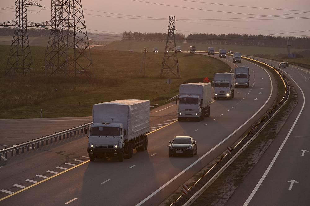 Движение автоколонны в Воронежской области