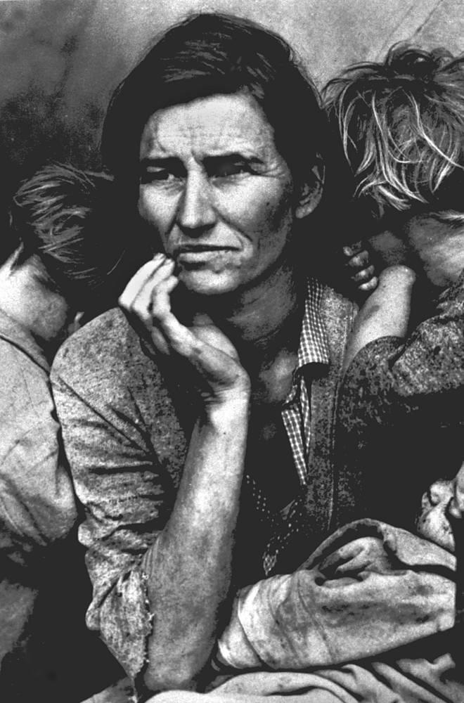 Портрет Флоренс Оувенс Томпсон с детьми, сделанный Ланж в трудовом лагере переселенцев в 1936 году, стал одним из символов Великой депрессии