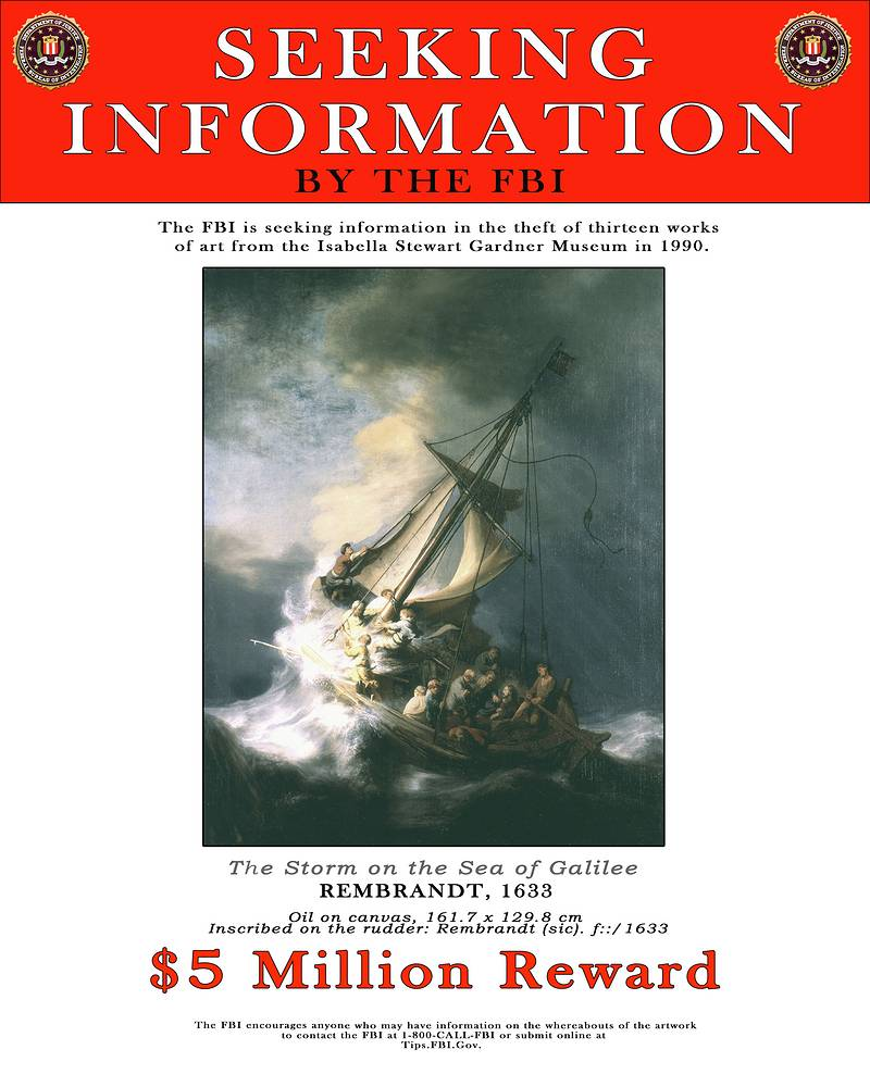 """Стоимость полотен оценивается в $300 млн. Картины до сих пор не найдены. На фото: сообщение о поиске пропавшей картины Рембрандта """"Шторм на Галилейском море"""" (1633) на сайте ФБР, которое до сих пор там размещено"""