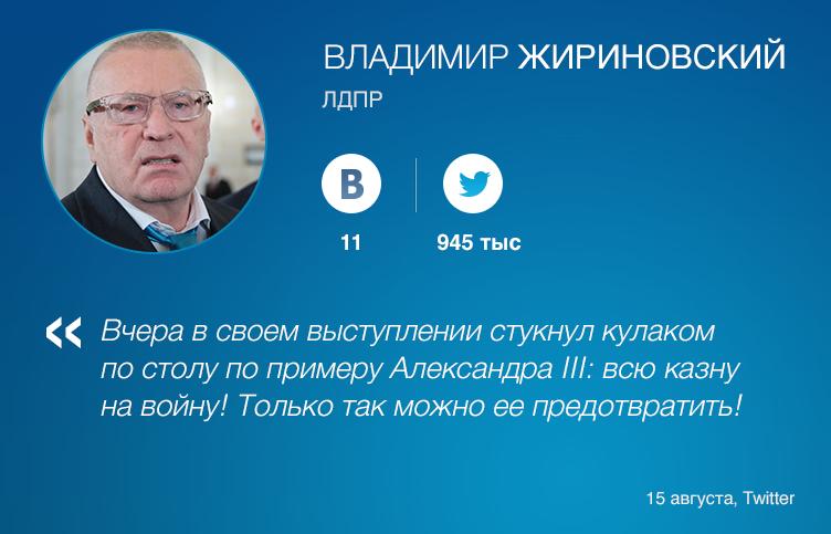 Харизма Владимира Жириновского распространилась и на его социальные сети