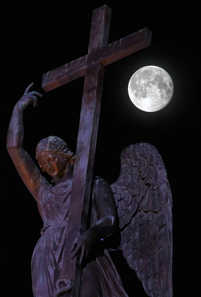 """Ангел Александровской колонны во время """"суперлуния""""(момент максимального сближения Земли и Луны) в 2014 году"""