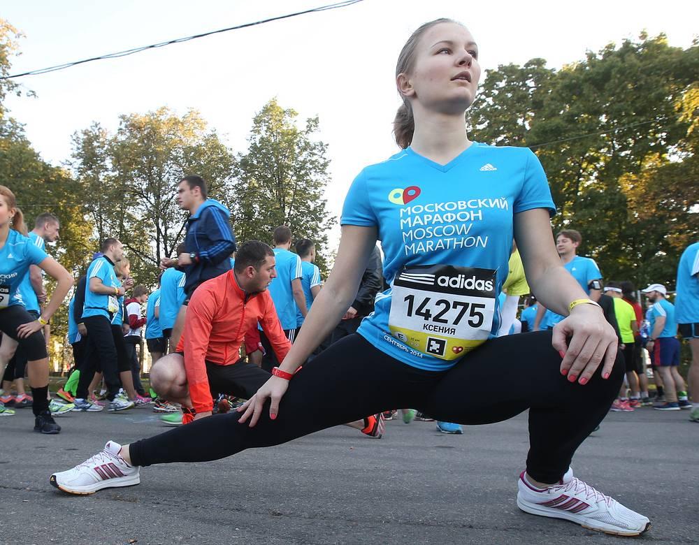 Участница перед стартом второго Московского марафона