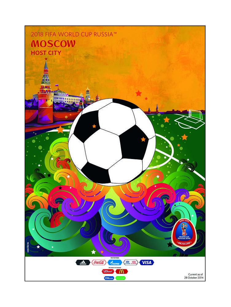 Москва. В 2018 году в Москве состоятся матчи открытия и финал чемпионата мира. Волны, несущие футбольный мяч, символизируют эмоции и атмосферу праздника, в которую окунутся болельщики в столице. Звезды на плакате - это звезды, которые засияют на столичных стадионах чемпионата мира