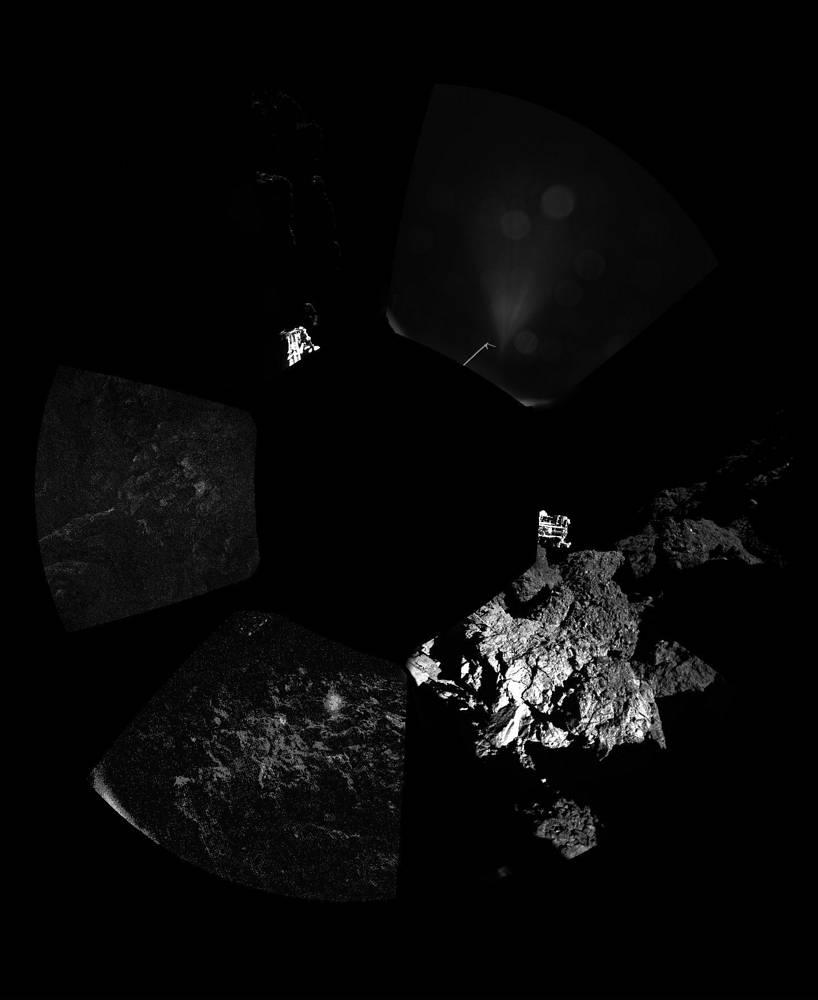 12 ноября впервые в истории изучения космического пространства исследовательский аппарат достиг поверхности кометы. Примерно в 18.35 мск на поверхность ядра кометы Чурюмова-Герасименко сел спускаемый модуль Philae европейского зонда Rosetta. На фото: панорамный снимок кометы Чурюмова-Герасименко