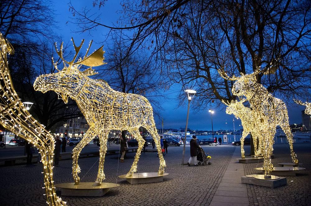 Рождественская иллюминация в Стокгольме, 22 ноября