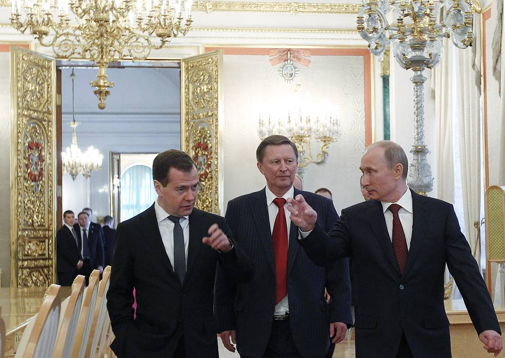 Премьер-министр РФ Дмитрий Медведев, руководитель администрации президента Сергей Иванов и президент РФ Владимир Путин после выступления с ежегодным посланием Федеральному собранию, 12 декабря 2012 года