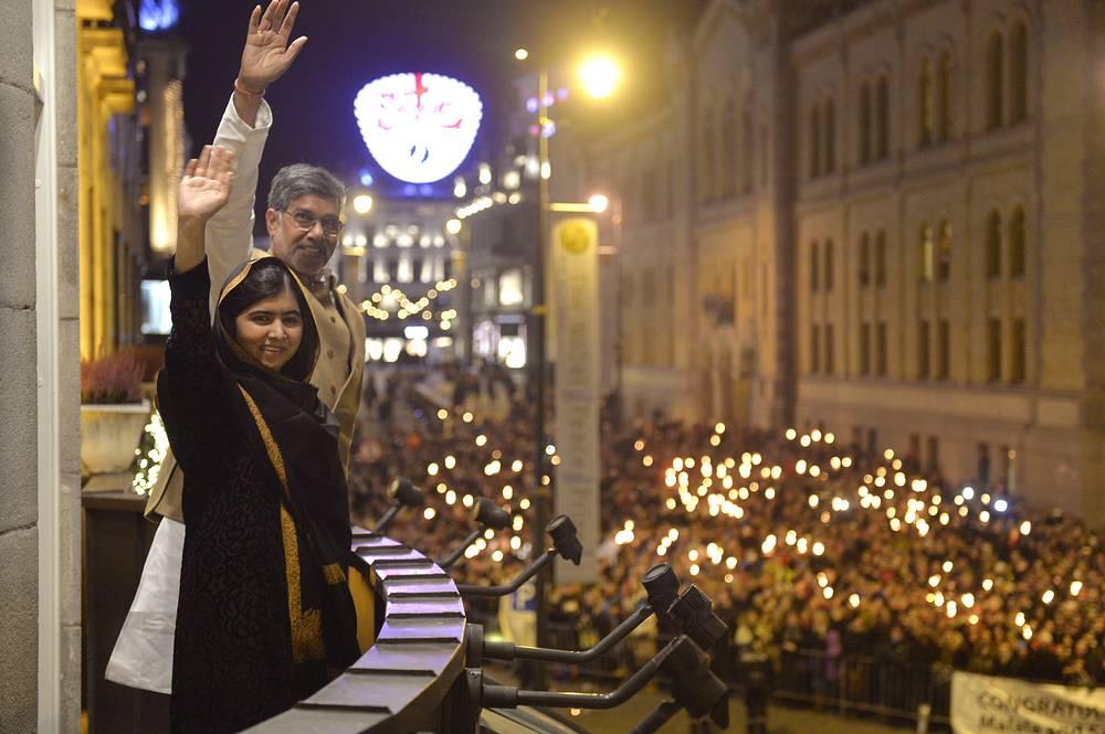 Премия мира была вручена в Осло пакистанской правозащитнице Малале Юсуфзаи и борцу за права детей Кайлашу Сатьяртхи из Индии
