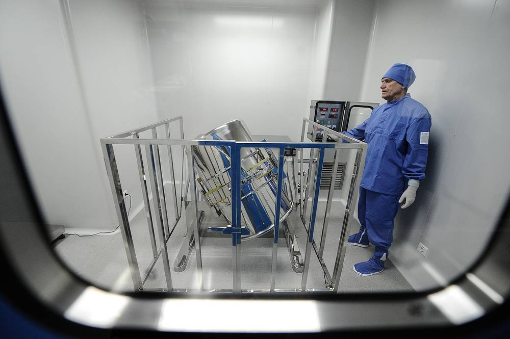 """Помещение смешения препаратов в новом биофармацевтическом технопарке на площадке завода """"Медсинтез"""""""