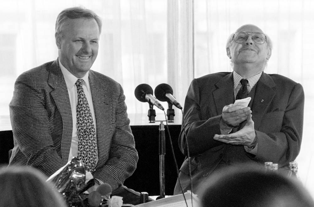Анатолий Собчак и Мстислав Ростропович на пресс-конференции, 1994 год