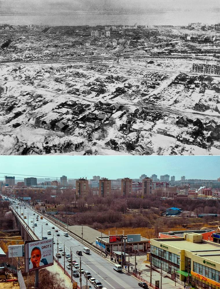Сталинград. Вид на город с самолета, 1943 год / Волгоград. Вид на Рабоче-Крестьянскую улицу
