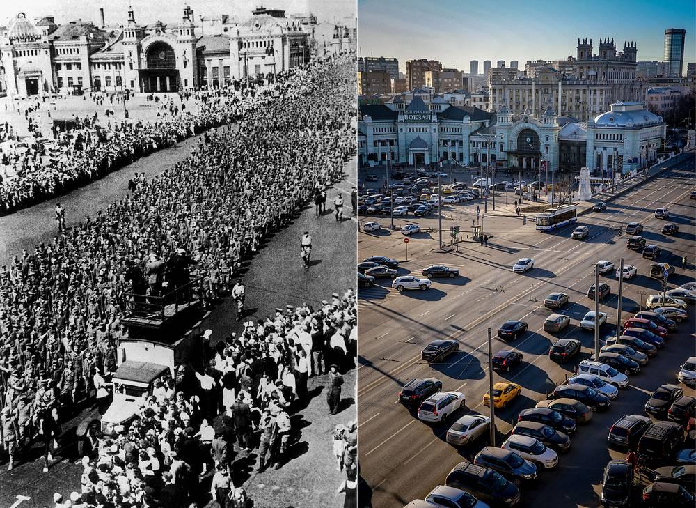 Москва. Немецкие военнопленные во время марша у Белорусского вокзала 17 июня 1944 года / Вид на Белорусский вокзал