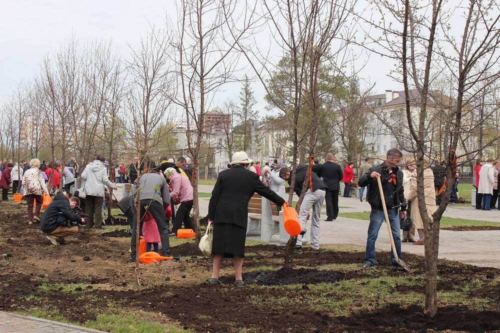Закладка аллеи Победы в парке УГМК