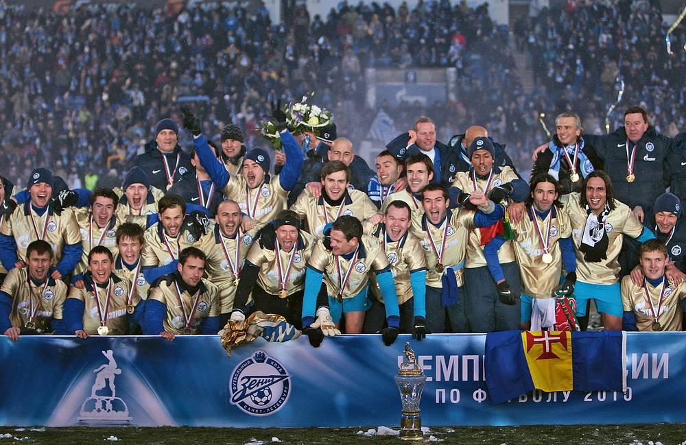 """Игроки """"Зенита"""" празднуют чемпионство 2010 года"""