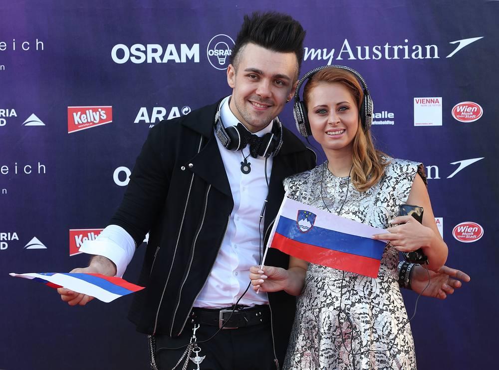 Представители Словении участники дуэта Maraaya Рэй и Марьетка (Алеш и Марьетка Вовк)