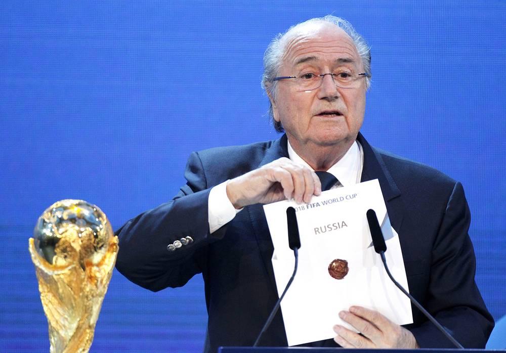 Президент ФИФА Йозеф Блаттер выступит с приветственным словом к участникам предварительной жеребьевки чемпионата мира 2018 года