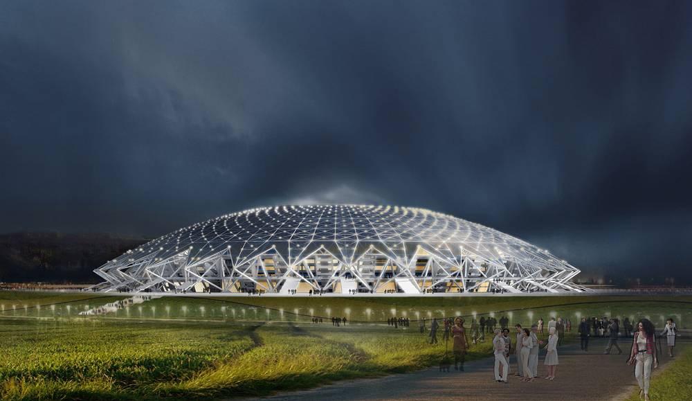 В архитектурном решении стадиона отражен образ Самары как города авиационных и космических технологий. Сооружение будет представлять собой сферический купол высотой до 60 метров с вырезом в центре, напоминая некий космический объект