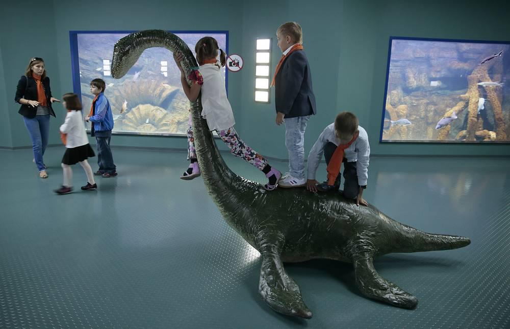 Зона аквариумов включает в себя также интерактивную детскую зону - тач-пул с морскими звездами, карпами и скатами