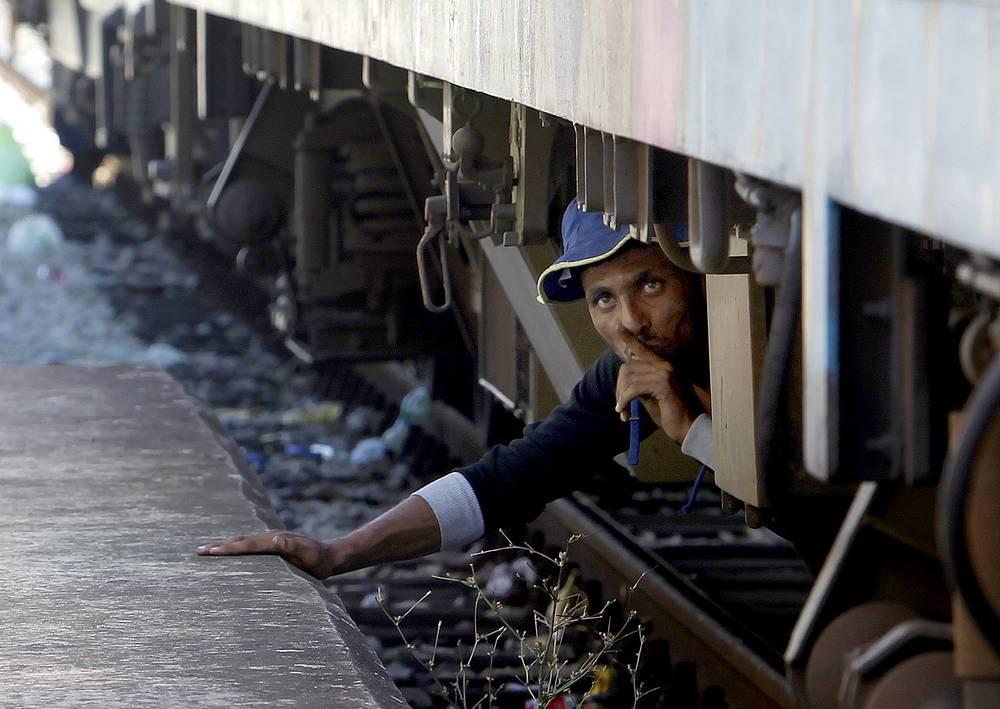 Мигрант прячется под поездом, отправляющимся в Сербию, на станции Гевгелия в Македонии, 17 августа. Более 1000 мигрантов из Ближнего Востока, Азии и Африки ежедневно прибывают в Македонию из Греции, чтобы продолжить свой путь на север через Балканы в более благополучные страны Европейского Союза