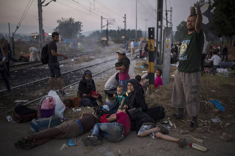 Сирийские беженцы на границе Греции с Македонией