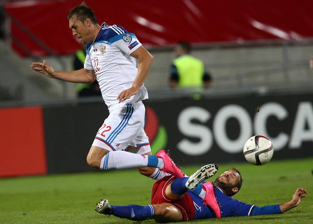 Игроки обороны сборной Лихтенштейна не смогли сдержать Артема Дзюбу - таранный форвард россиян четырежды огорчил соперников