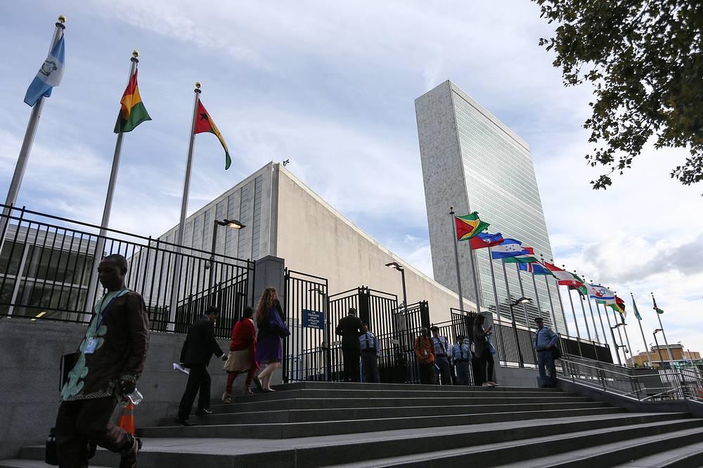 Здание штаб-квартиры ООН накануне юбилейной 70-й Генеральной ассамблеи ООН