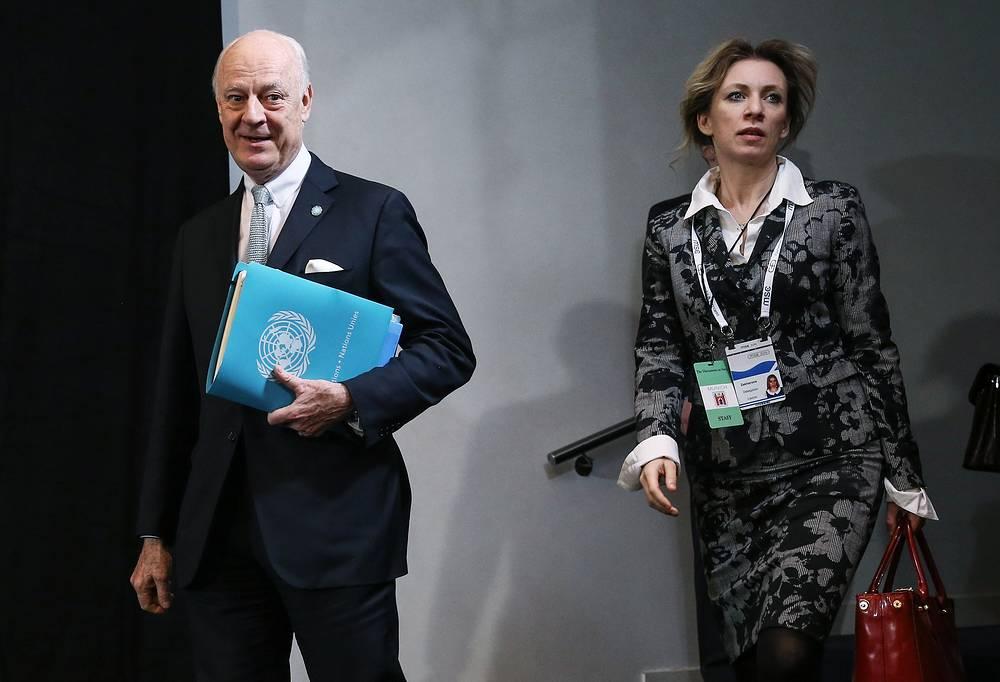 Спецпосланник ООН по Сирии Стаффан де Мистура и официальный представитель МИД России Мария Захарова