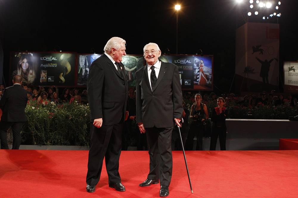 Анджей Вайда и бывший президент Польши Лех Валенса (справа) на 70-м Венецианском кинофестивале, 2013 год