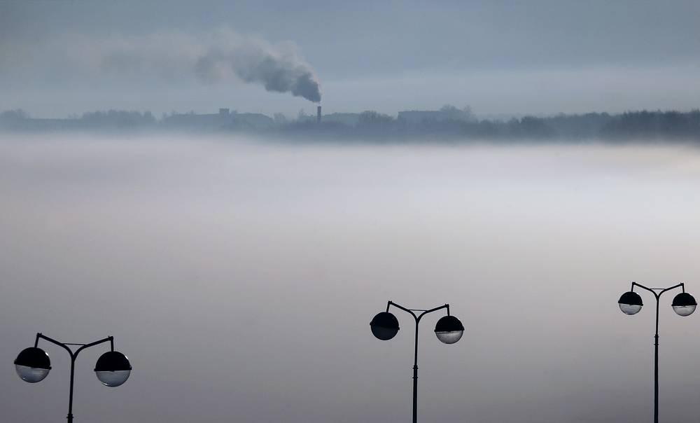 Фонарные столбы на Волге, Ивановская область 1 марта