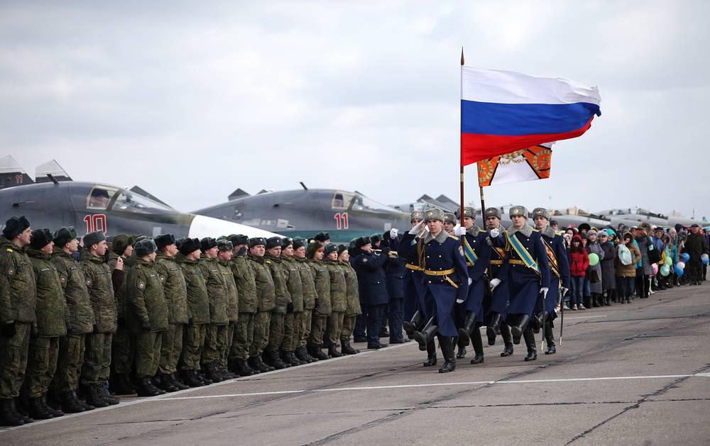 Воронежская область. Встреча летчиков из первой группы многофункциональных истребителей-бомбардировщиков Су-34