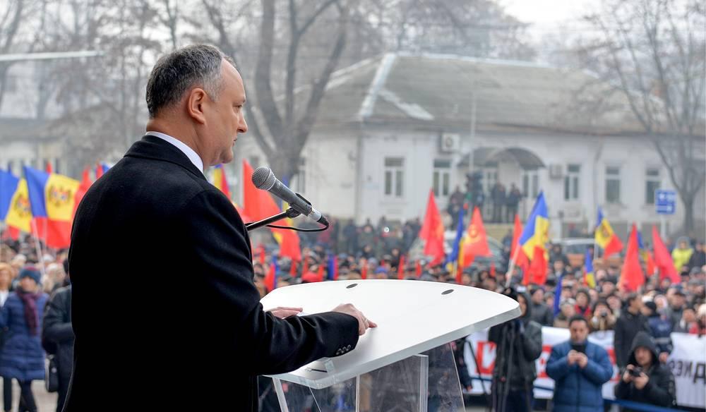 Избранный президент Молдавии Игорь Додон во время выступления по окончании церемонии инаугурации