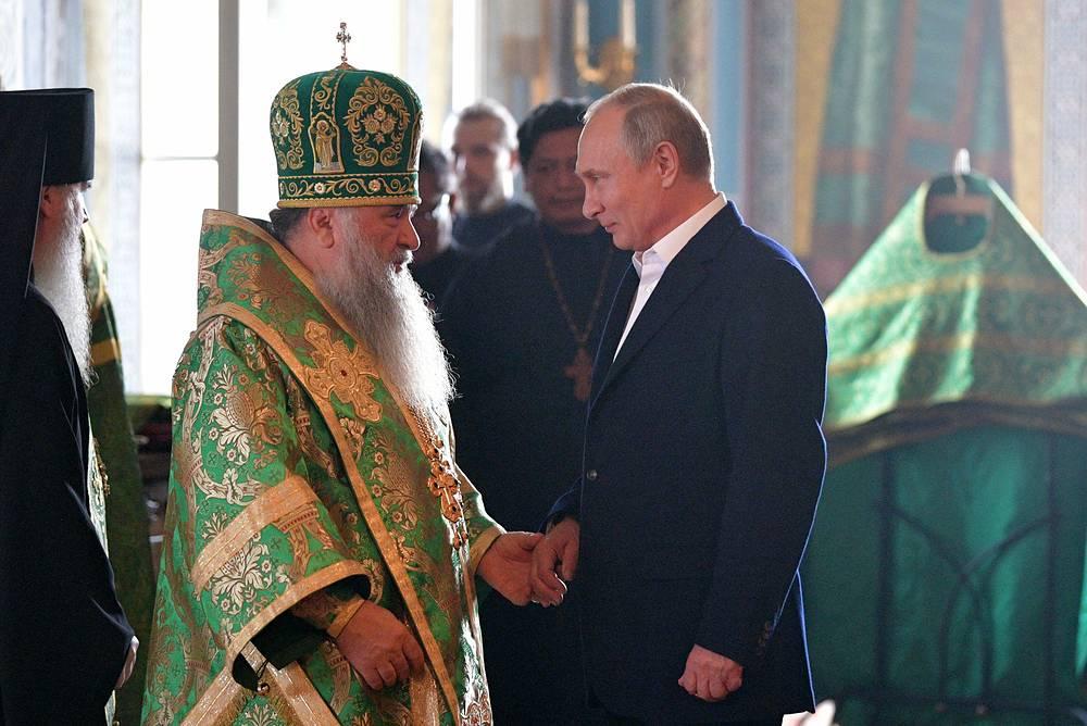 Наместник Валаамского монастыря владыка Панкратий и президент РФ Владимир Путин