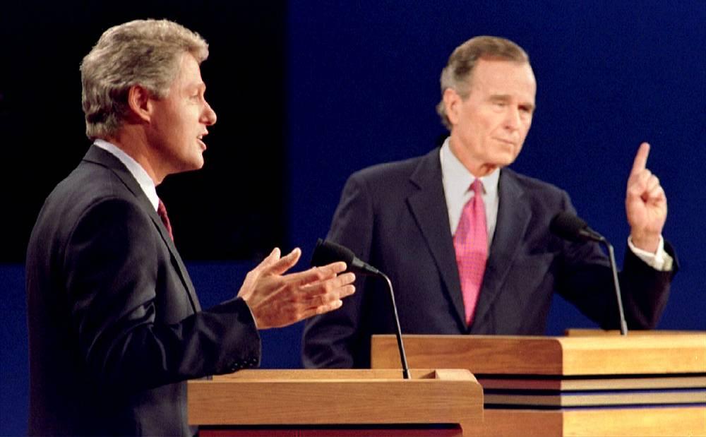 Во время дебатов с Биллом Клинтоном, 1992 год