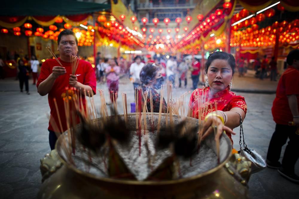 Празднование нового года в Бангкоке, Тайланд