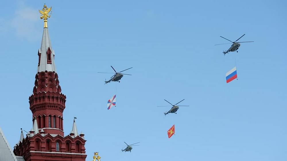 Транспортно-боевые вертолеты Ми-8 на военном параде, посвященном 66-й годовщине победы в Великой Отечественной войне